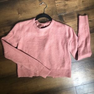 Dusty Mauve Pink Sweater Cute Back Tied